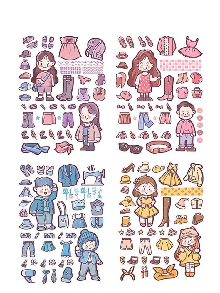 4sheets Cartoon Clothes & Shoes Print Sticker