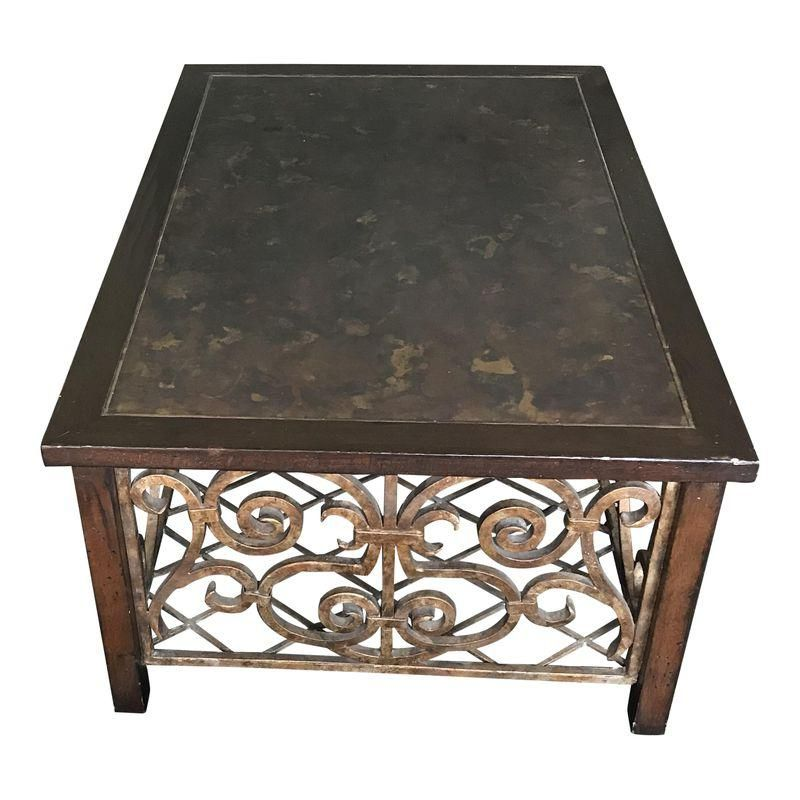 Drexel Heritage Wood Copper Iron Coffee Table