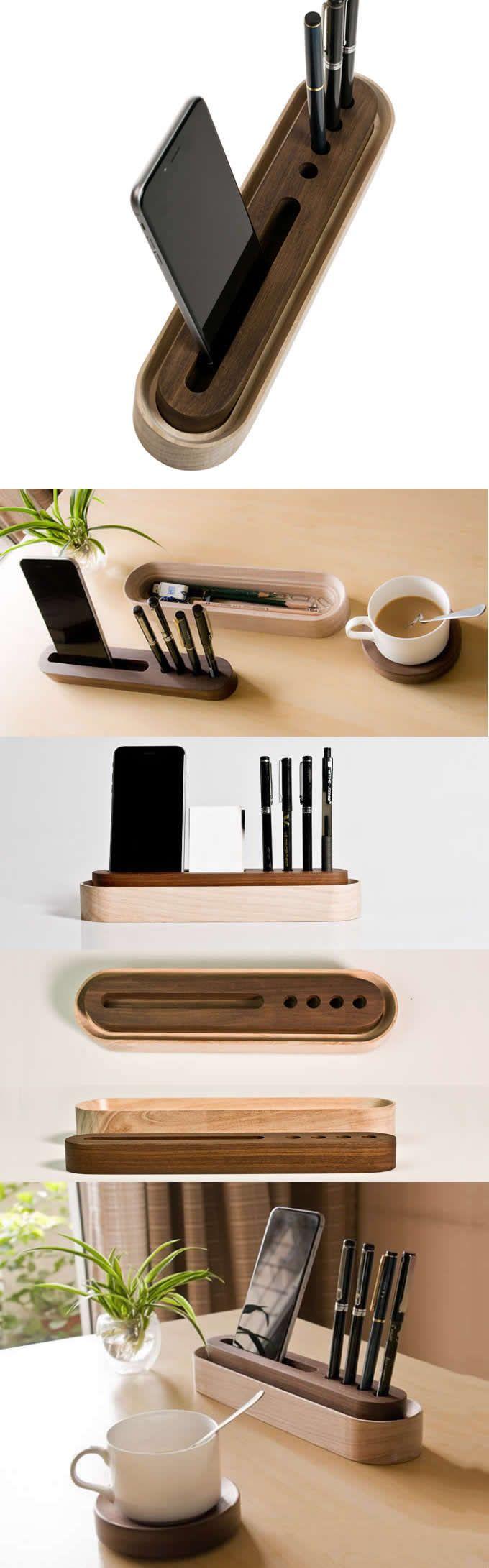 Wooden Office Supplies Desk Organizer Storage Container Phone
