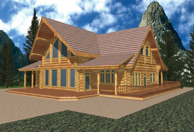 Log Home With Wraparound Porch Cabin House Plans House Plans Farmhouse Log Cabin Plans