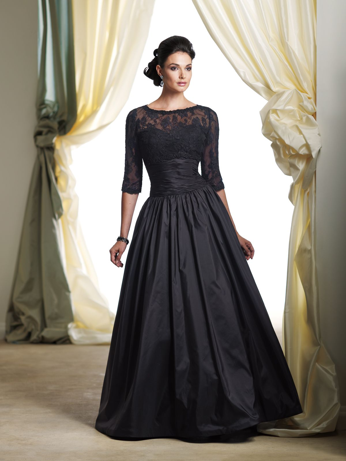 Twopiece silk taffeta and lace ball gown set strapless ball gown