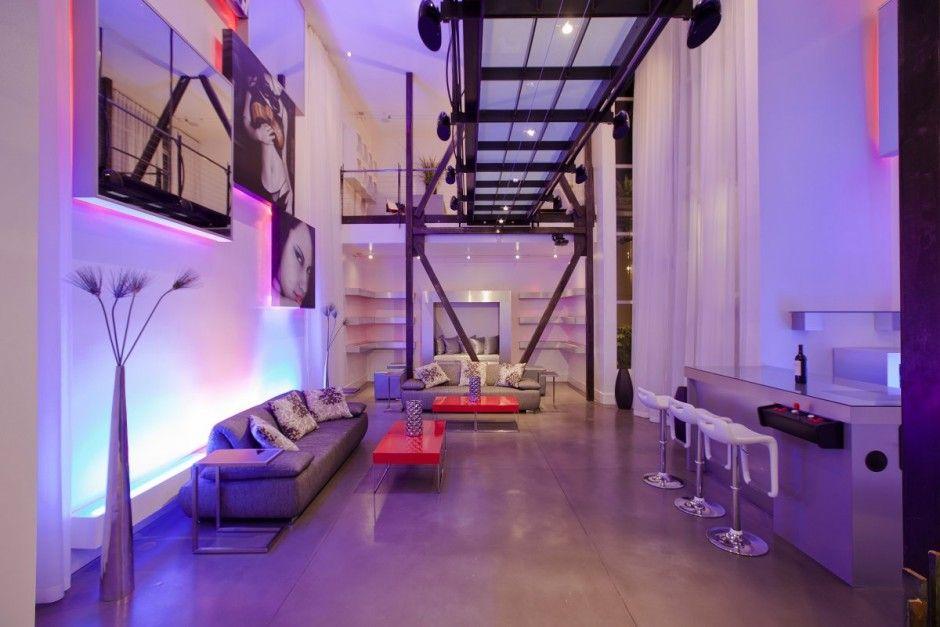Interior Design That Rocks Minimalisti Com Home Lighting Design Lighting Design Interior Purple Living Room