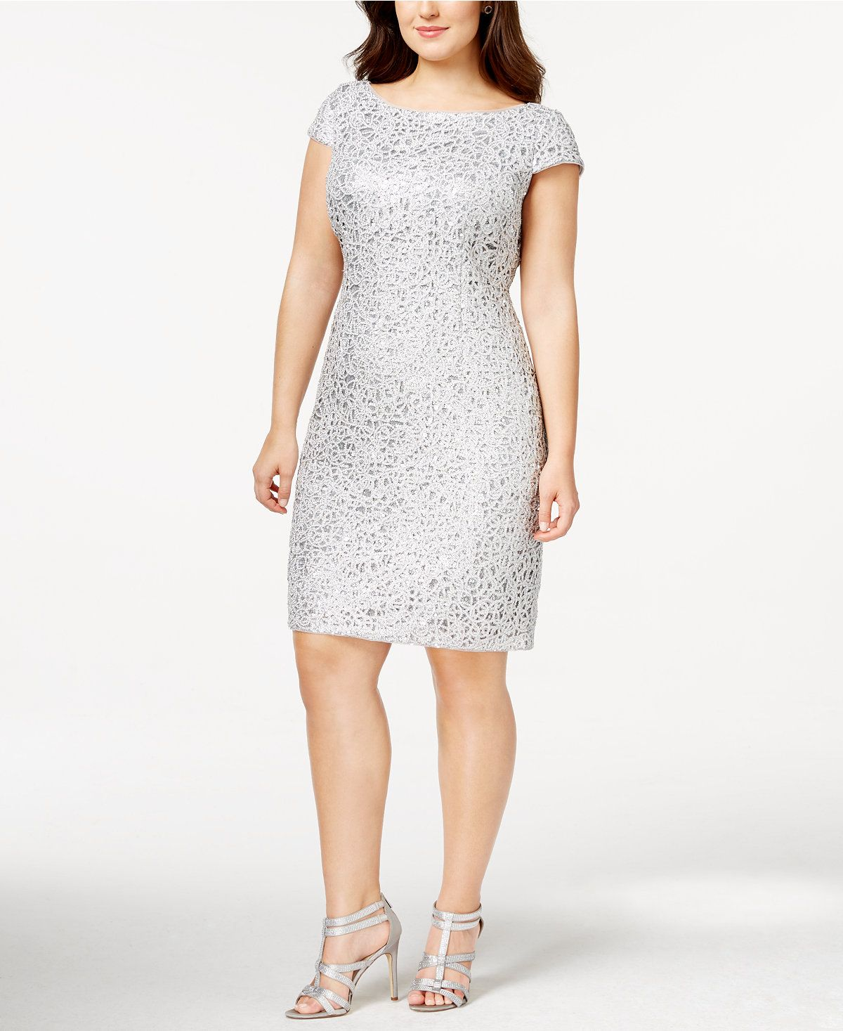 Adrianna Papell Plus Size Sequined Lace Shift Dress ...
