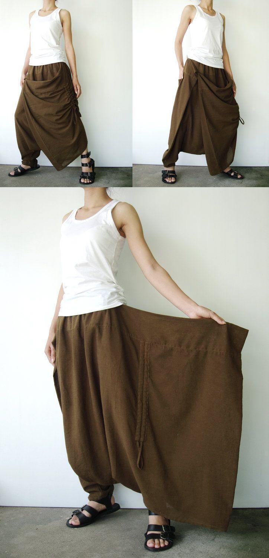 greenish brown cotton asymmetric harem pants n hen. Black Bedroom Furniture Sets. Home Design Ideas