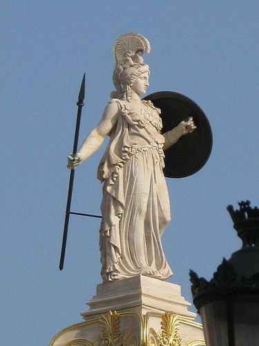Athena Wears A Helmet And Has A Spear For A Weapon And This Is A