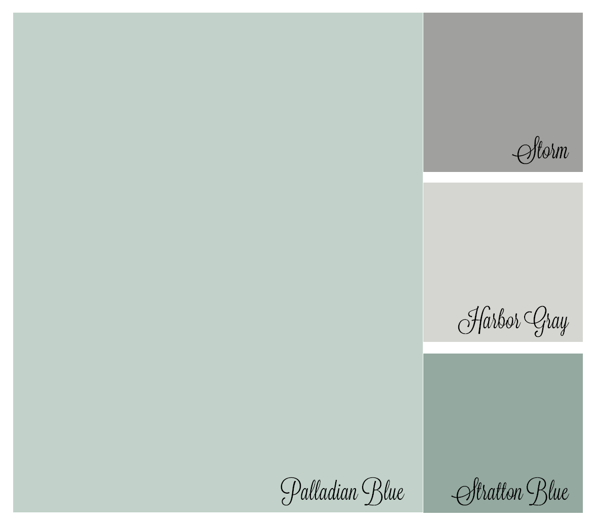 Benjamin moore palladian blue bathroom - Color Palette Benjamin Moore Palladian Blue Storm Harboy Gray Stratton Blue