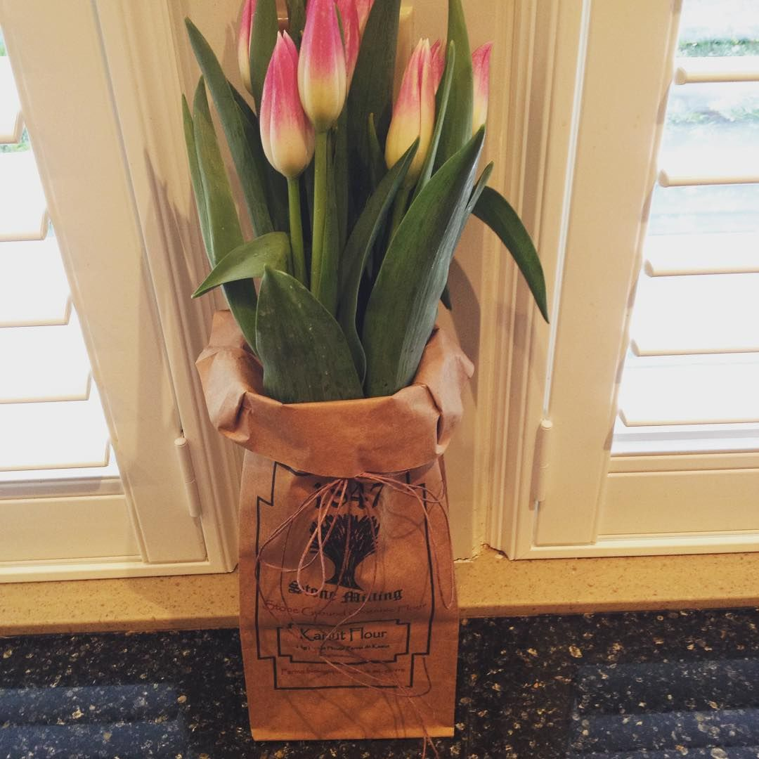 Another way to use @1847flours compostable bags! Prefect for transporting fresh flowers!  #1847stonemilling #organic #sustainable #ecofriendly ♻️