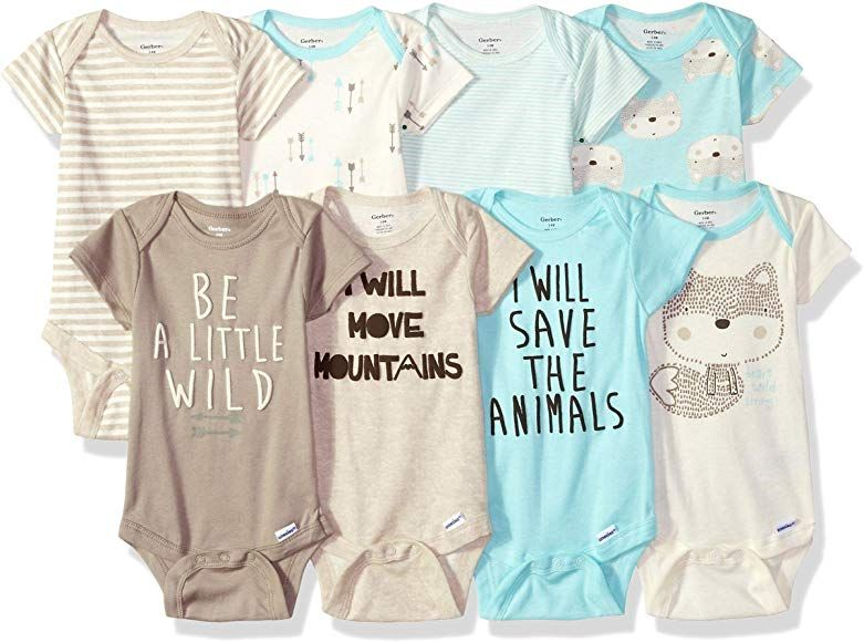 8-Pack Boys Short-Sleeve Fox Onesies Bodysuits