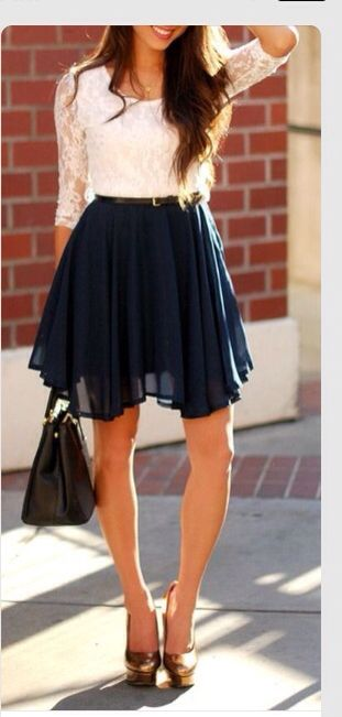 Laced top and navy blue skirt very chic!