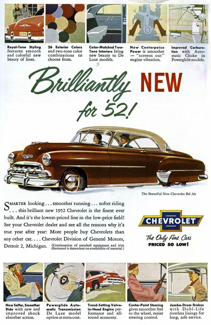 1952 Chevy Bel Air ad. #vintage #cars #1950s | Classic Car Ads ...