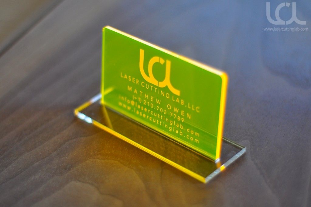 Laser engraved fluorescent yellow acrylic business cards laser laser engraved fluorescent yellow acrylic business cards colourmoves
