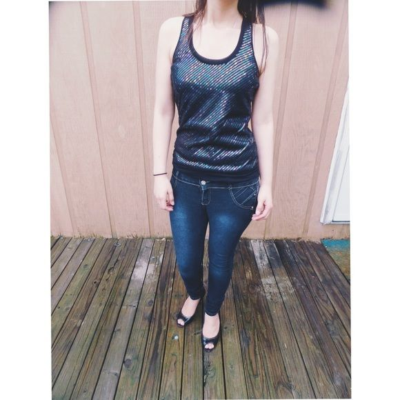 Express black sequin top Excellent condition, no imperfections. Black sequin top by Express, woman's size XS Express Tops
