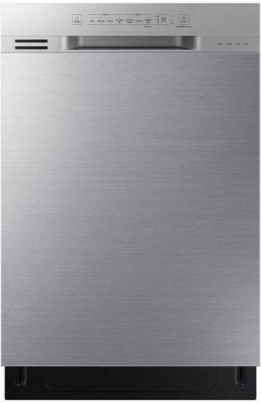 Samsung DW80N3030US 24 Inch Full Console Dishwasher with 15 Place Settings, 4 Wash Cycles, Cutlery Rack, 51 dBA Sound Level, Advanced Wash System, Leak Sensor, Adjustable Upper Rack, Digital Controls, and ENERGY STAR® Certified: Stainless Steel