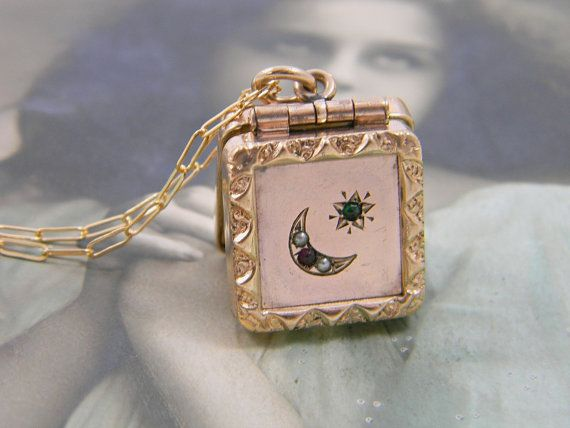 Antique Moon and Star Locket Fob Necklace Rose Gold Filled Locket