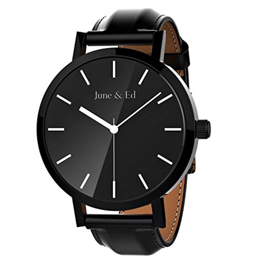 june ed montre quartz en acier inoxydable montre pour homme avec le cadran de cristal saphir. Black Bedroom Furniture Sets. Home Design Ideas