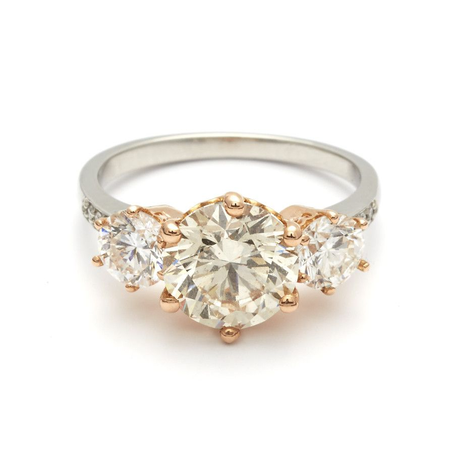 Hazeline Three Stone Ring - Platinum & Champagne Diamond ...