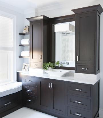 Espresso Cabinets With White Countertops Cabinets Espresso Bathroom Vanity Single Bathroom Small Bathroom Vanities Bathroom Vanity Storage Trendy Bathroom