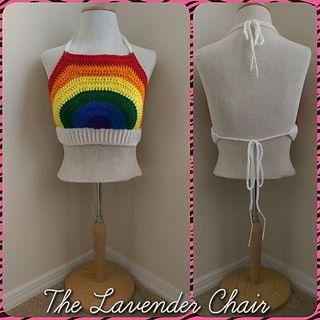 Rainbow Crop Top free crochet pattern - The lavender Chair