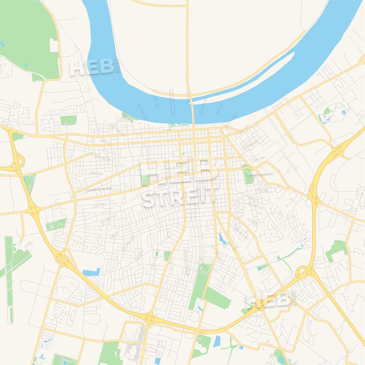 Empty vector map of Owensboro, Kentucky, USA | Maps Vector ...