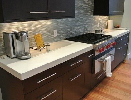 Concrete Kitchen Counter Materials UsedConcrete Pigment: Titanium White,  From Blue Concrete Sealer: UV X 42, From Trinic