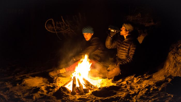 gettin warm in the cold night of Abel Tasman National park, right after a tough hike