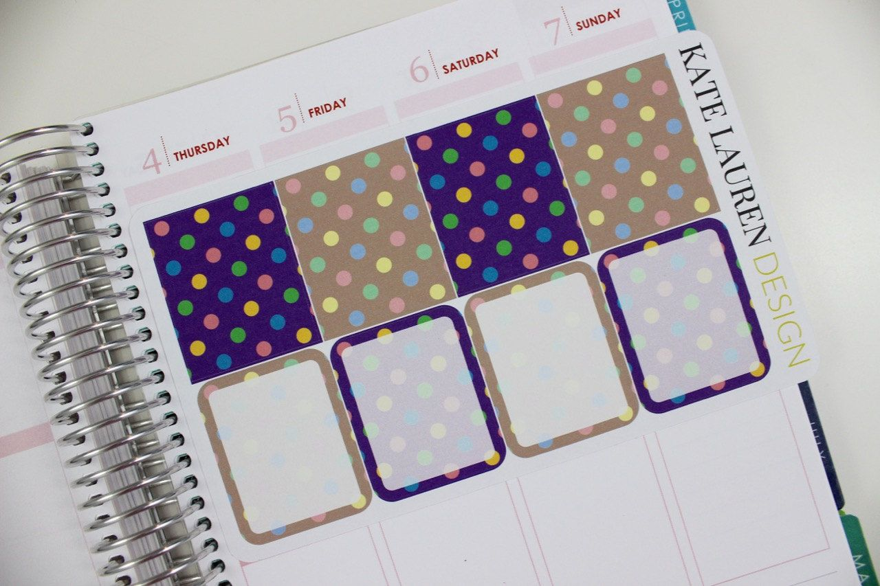 Polka Dot Planner Stickers for Erin Condren Full Boxes Purple Stickers Patterned Stickers