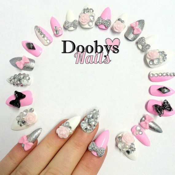 Doobys Stiletto  Barbie Pink Super Bling  24 Hand by Doobys1989, £19.99