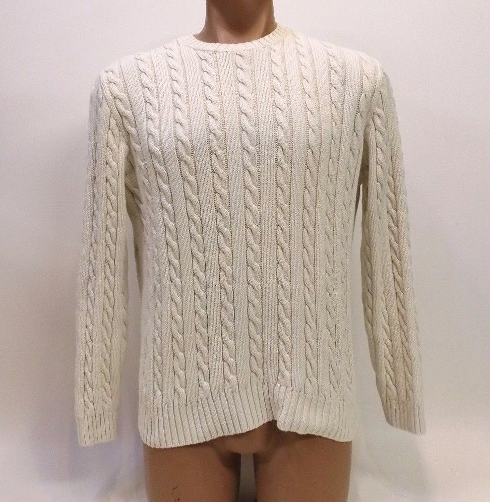 Details about J Crew Cable Knit Sweater Mens Large Cream Off White ...