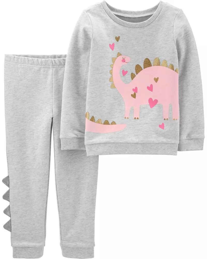 2-Piece Glitter Dinosaur Top & Pant Set (With images ...