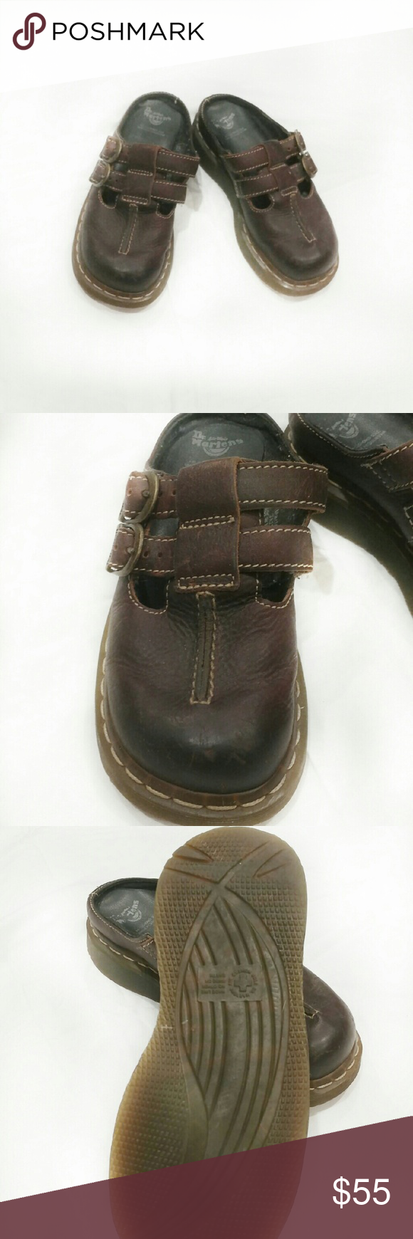 Dr. Martin's Brown Leather Clogs - double buckles - adjustable - like new - minor scuffs - will last forever  - adorable! Dr. Martens Shoes Mules & Clogs