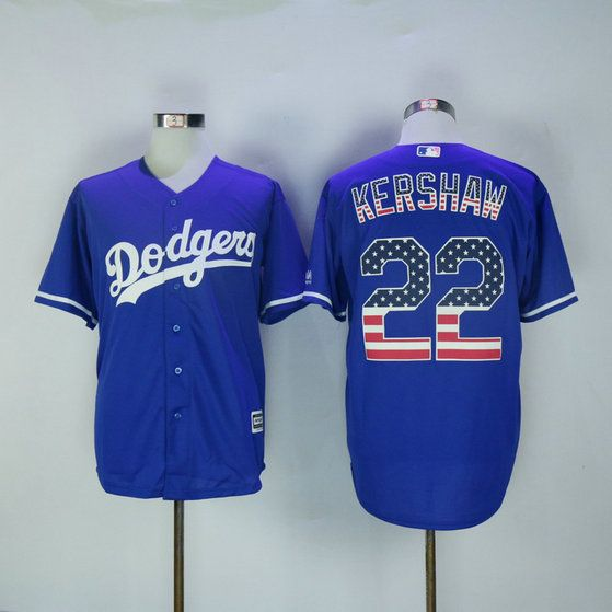 9ebd05850 New Los Angeles Dodgers Jerseys Mens USA FLAG  22 Clayton Kershaw Blue  Baseball Jersey 100% Stitched Jerseys Free Drop Shipping
