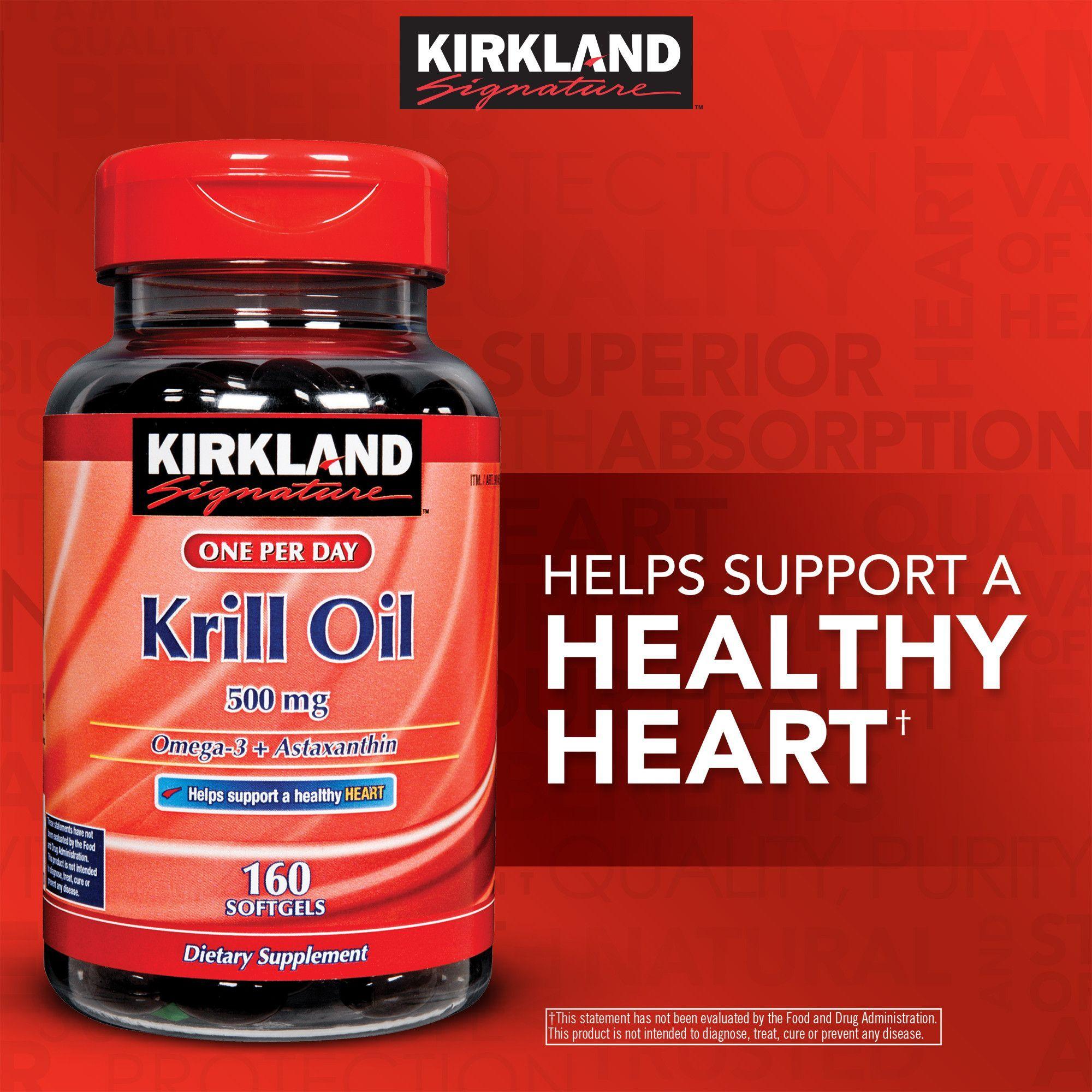 Kirkland Signature Krill Oil 500 mg. 160 Softgels Krill