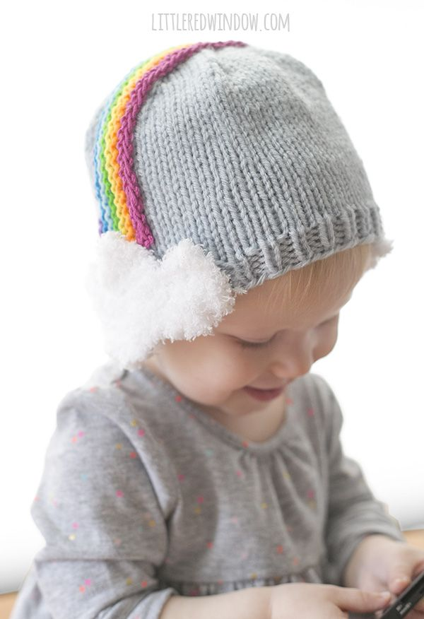 Over the Rainbow Hat Knitting Pattern for babies and toddlers with cute  rainbow headband fluffy cloud earflaps!  692e7c5e0e9