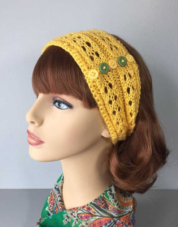 Yellow Knit Headband with Buttons Lace Knit by MonicaWilgaDesigns