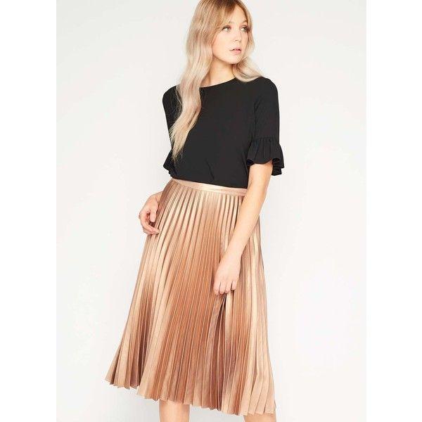 978d136460 Miss Selfridge PREMIUM Metallic Pleated Midi Skirt ($95) ❤ liked on Polyvore  featuring skirts, metallic, miss selfridge, mid calf skirts, knee length ...