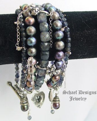 Schaef Designs  iolite, peacock pearl, & sterling silver stacking bracelets | New Mexico