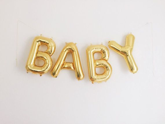 baby letter balloons gold mylar foil by ohshinypaperco