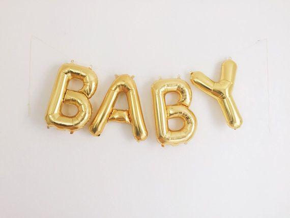 Baby Shower Letter Balloons.Baby Balloons Gold Mylar Foil Letter Balloon Banner Kit