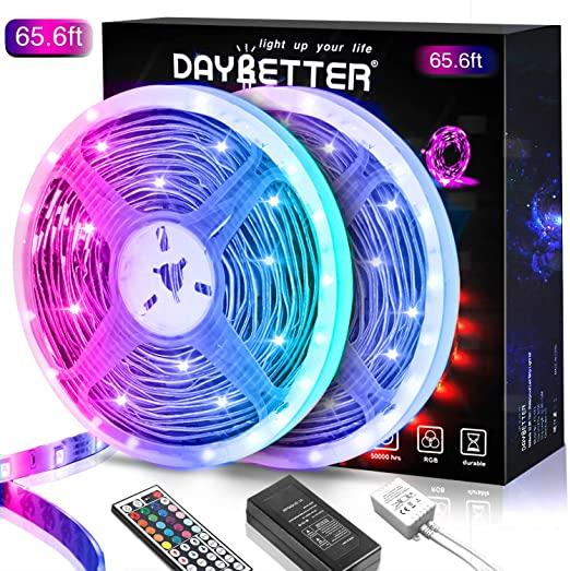 Amazon Com 65 6ft Led Strip Lights Daybetter Lights Strip Kit Color Changing 5050 Rgb 600 Leds 2 In 2020 Led Strip Lighting Strip Lighting Light Strips For Bedroom