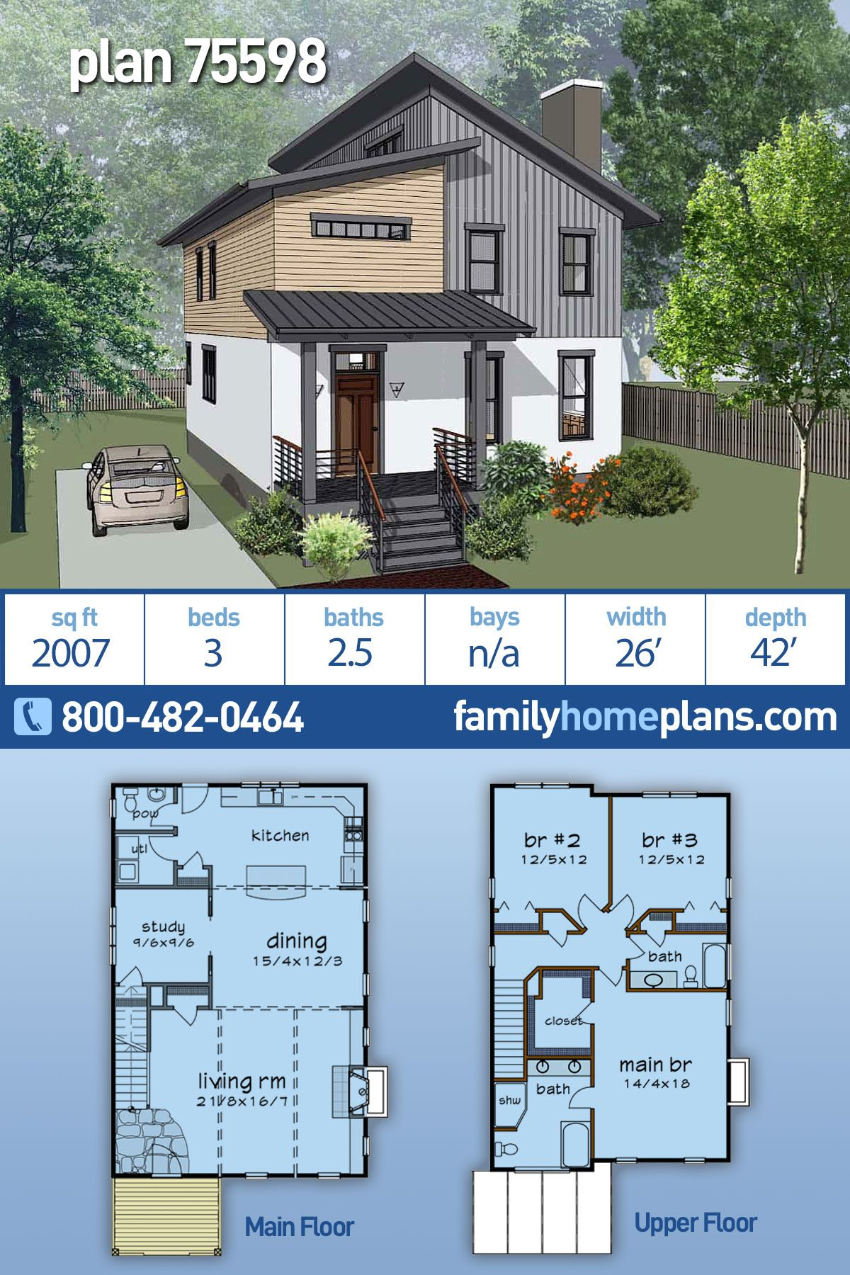 Modern Style House Plan 75598 With 3 Bed 3 Bath Modern Style House Plans Narrow House Plans House Plans