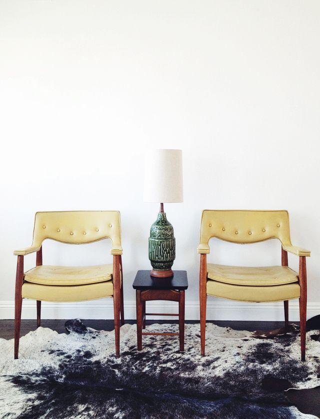 Yellow armchairs | Mid Century