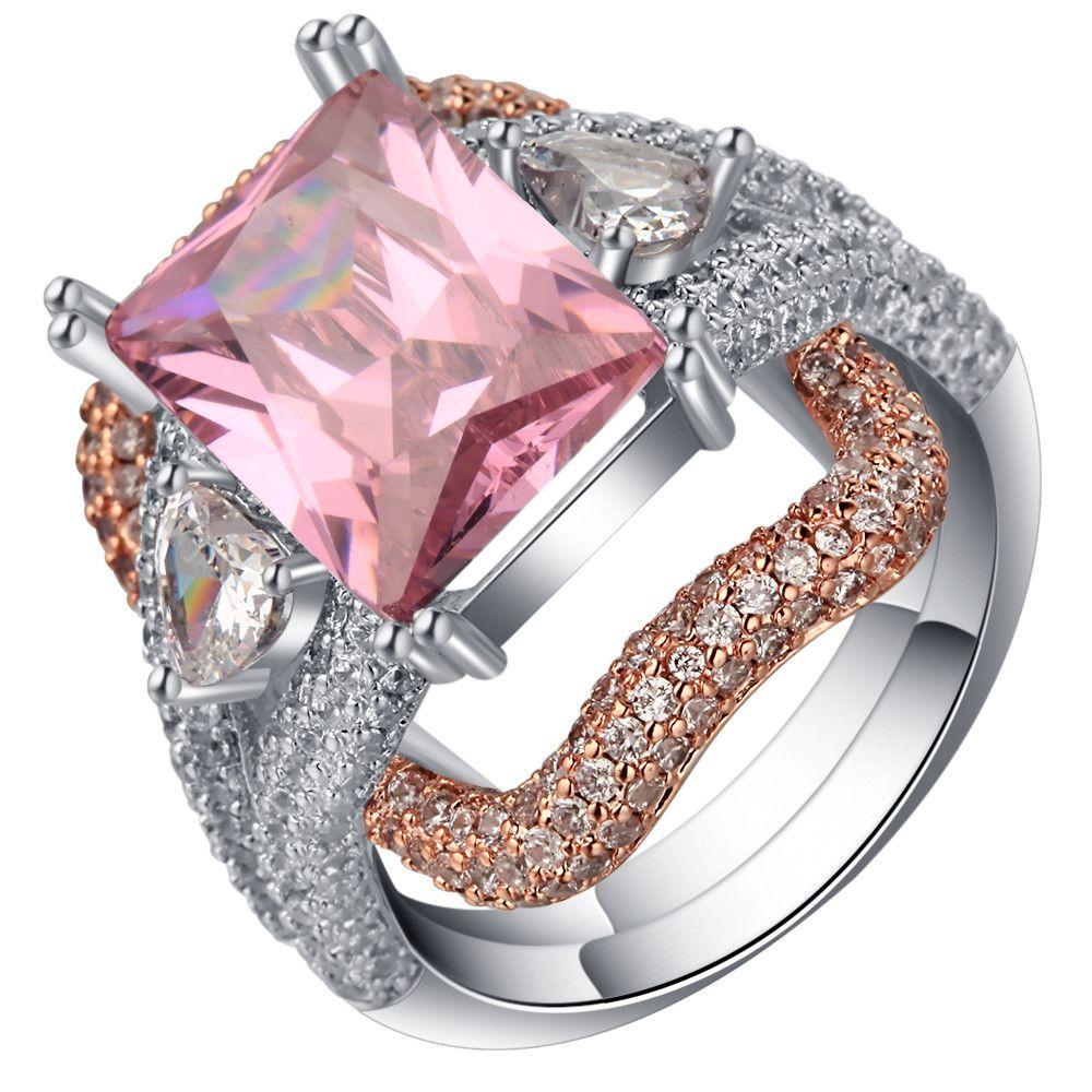engagement ring cute pink women birthstone pave white&pink zircon ...