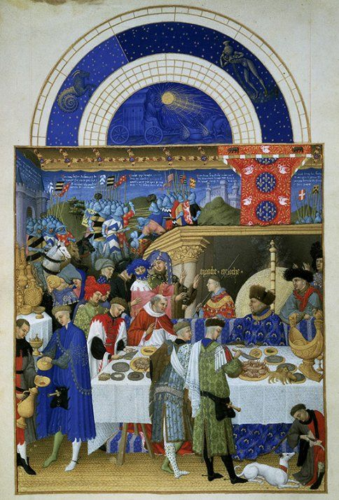 Januarbild aus dem Stundenbuch des Duc de Berry (15. Jh.): Beim Gastmahl trägt der Herzog einen prächtigen blauen Mantel, der mit Ultramarin gemalt wurde.