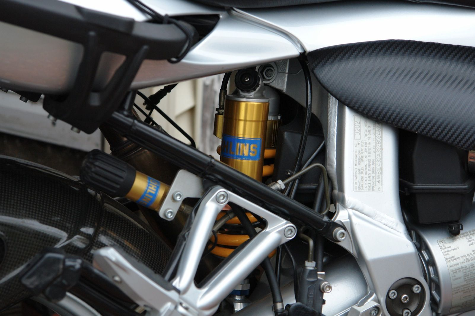 Close up Ohlins and Carbon Fiber Factory package  r1100s BMW