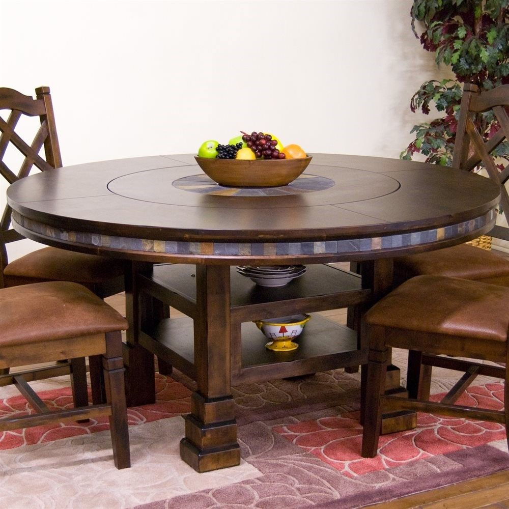 "Lazy Susan For Table Amazing Sunny Designs 1225Dc Santa Fe 60"" Round Table With Lazy Susan In Review"