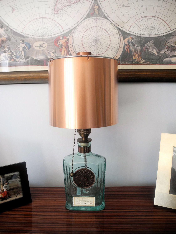 Gin Bottle To Lamp W Copper Shade Decor Brooklyn Gin