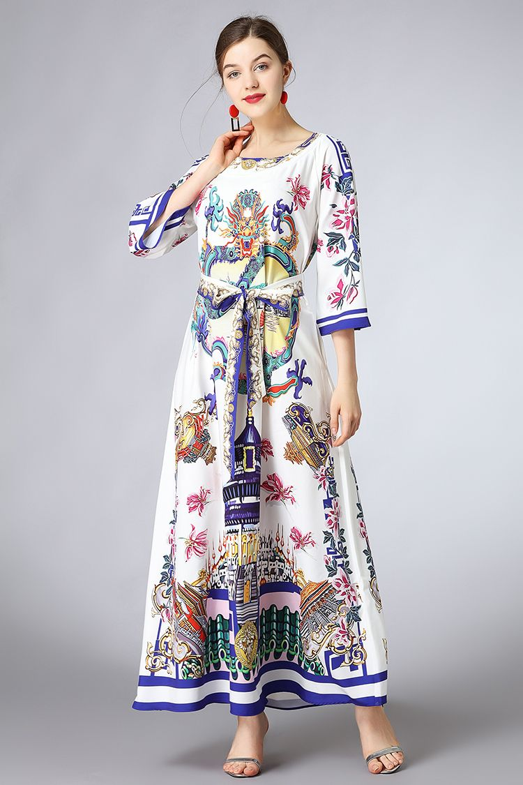c1100aae215 AELESEEN Boho Summer Dress Women 2018 3 4 Sleeve Luxury Flower Dragon Print  Pleated Sashes