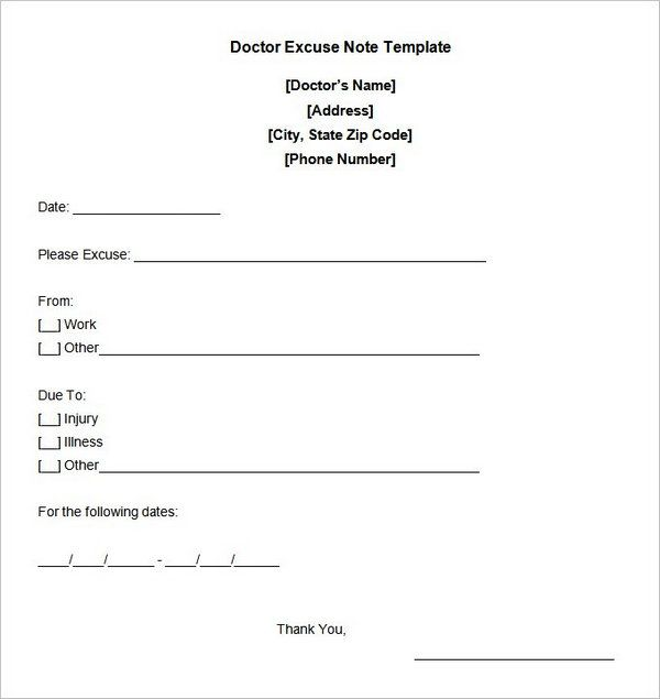 19 free doctor note template collections winter art for Doctors excuse templates for work