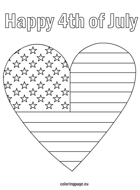 4th Of July Patriotic Heart Heart Coloring Pages Flag Coloring