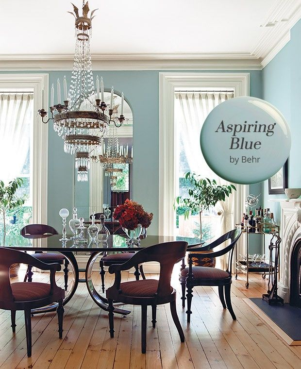 Green Living Room Ideas For Soothing Sophisticated Spaces: Paint Color Pick: Aspiring Blue By Behr